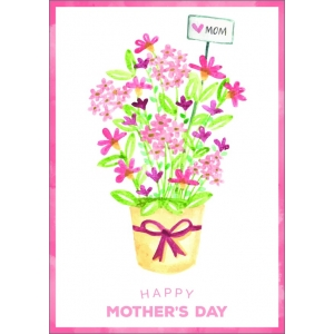 12191 Happy mothers day - pot met bloemen