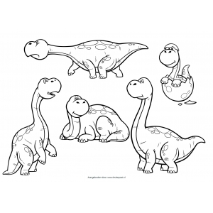 Kleurplaat: Dinosaurussen
